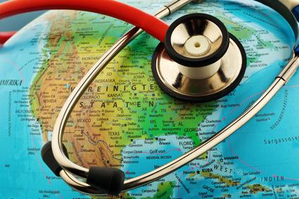 Globus und Stethoskop