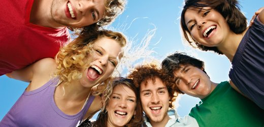 Portrait of six young happy people